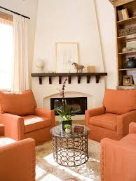 Peach Color Bedroom by Orange Design Ideas Brick Fireplace Orange Living Rooms And