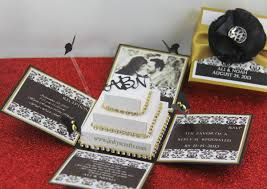 black and gold wedding invitations black gold damask exploding box wedding invitation jinkys crafts