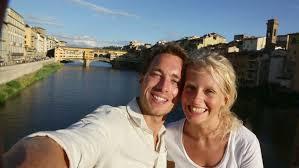 happy selfie on travel to pisa tourists