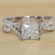 princess cut cubic zirconia wedding sets luxury quality genuine 14k 585 white gold 1 carat princess cut