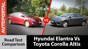 hyundai elantra vs corolla altis test drive comparison