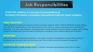 International Marketing Director Job Description Public Relations Departments U0026 Firms Chapter 4 Ppt Video Online
