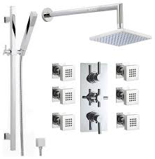 chrome thermostatic shower system with extended arm