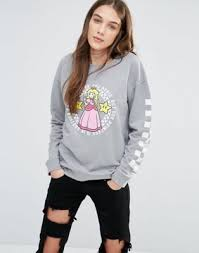 mychicpicks vans nintendo sweatshirt with princess peach logo