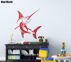 aliexpress com buy mad world marlin saltwater fish fishing wall aliexpress com buy mad world marlin saltwater fish fishing wall art stickers wall decal home diy decoration removable room decor wall stickers from