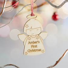personalised laser cut wooden angel christmas decoration u2013 scamp