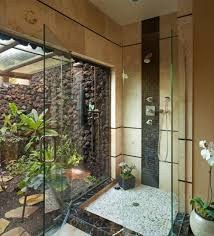 Bathroom With Stone Rustic Bathroom With Wooden Design And Double Shower Idea For