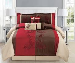 Beige Bedding Sets Modern 7 Piece Queen Bedding Burgundy Brown Beige Paisley