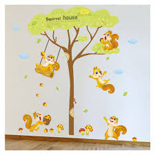 cartoon decorate sitting room wall stickers squirrels home of
