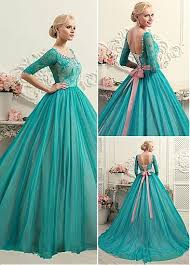 teal wedding dresses glamorous tulle lace scoop neckline gown wedding dress