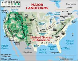 map us landforms usa landforms