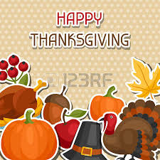 happy thanksgiving day card design with objects royalty