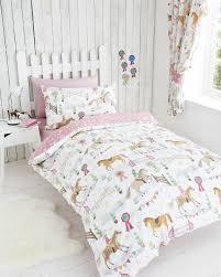 horse show pink kids girls reversible single duvet quilt cover