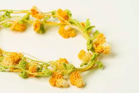 leaf pattern necklace crochet pattern bell flower necklace yarn twist