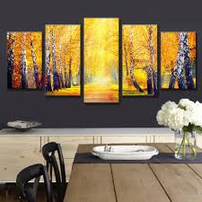 gold leaf home decor 5 pcs set landscape fall in the forest printed canvas painting