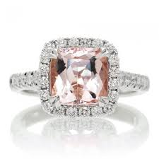 pink morganite ring cushion 8x8 diamond halo engagement ring peachy pink