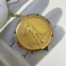 coin jewelry necklace images Gold pure coin 18k yellow sapphire diamonds pendant necklace tradesy jpg