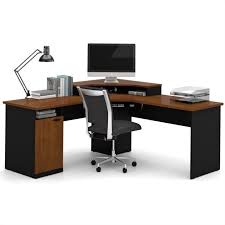 home office corner workstation desk bestar hton wood home office corner computer desk in tuscany