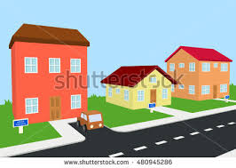 two house house along road part rural landscape stock vector 298129769