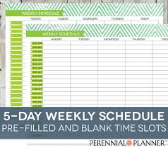 daily schedule printable editable times by perennialplanner