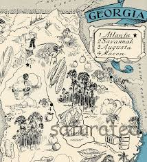 Map Georgia Usa by Georgia Map 1931 Original Vintage Picture Map Antique Charming
