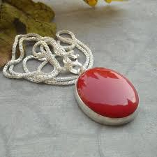 red necklace online images Buy oval red coral pendant chain jewelry 925 sterling silver jpg
