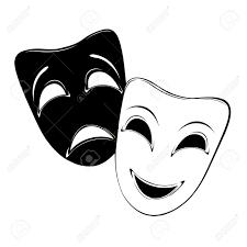 Black And White Drama by Comedy Tragedy Masks Black And White Clipart
