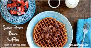 sweet potato bacon waffles gluten and grain free paleo savory