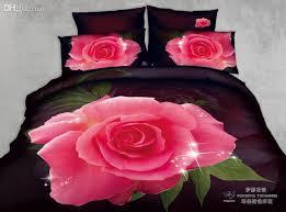 Pink Rose Duvet Cover Set Wholesale 3d Black Pink Rose Print Floral Flower Comforter Set