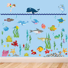 Mario Bros Wall Stickers Large Under Water Sea World Full Colour Wall Stickers For Kids