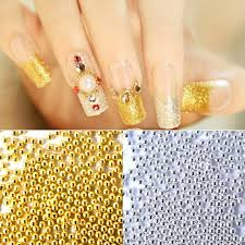 1mm gold silver mini beads gel nails decoration 3d nail art