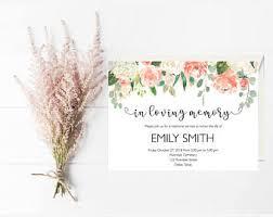 funeral service invitation memorial invitation etsy