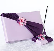 wedding guest book and pen set purple guest books purple guestbooks