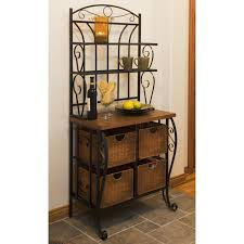 Storage Bakers Rack Iron U0026 Wicker Bakers Rack Hayneedle