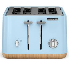 Blue 4 Slice Toaster New Morphy Richards Scandi Aspect Blue 4 Slice Toaster W Wood
