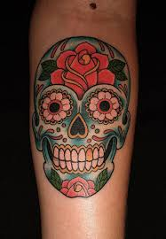 sugar skull tattoos with flowers popular ideas