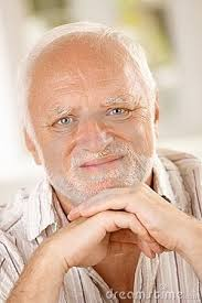 Stock Memes - hide the pain harold old guy stock photo model tortured soul