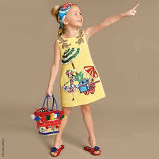 dolce u0026 gabbana girls mini me yellow hand embroidered crêpe shift