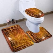 3pcs flannel autumn path skidproof toilet rug set light brown