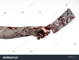 large halloween background bloody hand holding large knife meat stock photo 221231905