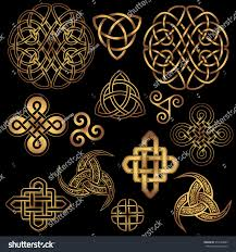 set golden ancient pagan scandinavian sacred stock vector