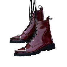 womens motorcycle riding boots autumn new metal decor motorcycle boots shiny leather lace up riding