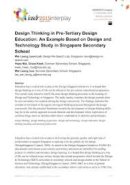 design thinking in pre tertiary design education an example based