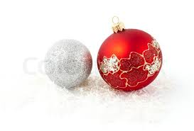 tree decoration and silver balls isolated stock photo