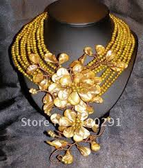 gold necklace sets designs images Gorgeous pretty party gold freshwater pearl flower design jpg