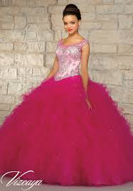 fuchsia quinceanera dresses two tone embroidered and beaded bodice on a ruffled tulle skirt
