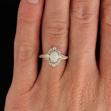 vintage opal engagement rings nouveau opal diamond gold halo ring halo rings engagement