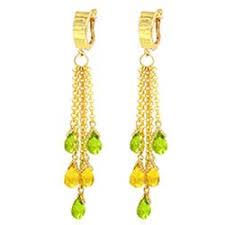 Peridot Chandelier Earrings Citrine Gemstone Chandelier Earrings