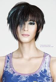 hairstyles short one sie longer than other deeply tapered short haircut with a curved line