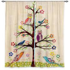 Owl Kitchen Curtains by Dianoche Lined Window Curtains By Sascalia Owl Bird Tree 2